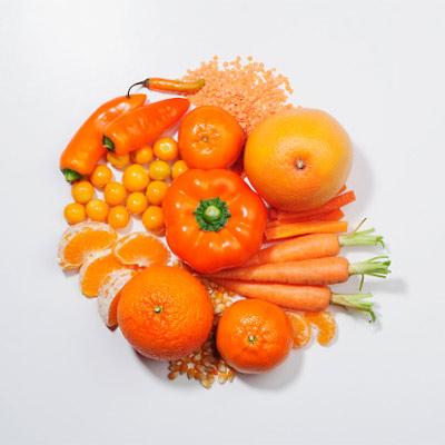Orange fruit and vegetables